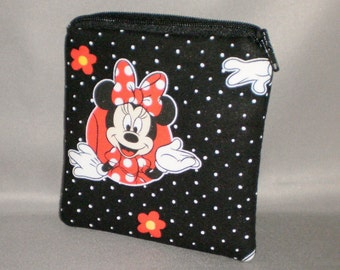 Coin Purse - Gift Card Holder - Card Case -Small Padded Zippered Pouch - Mini Wallet - Minnie Mouse