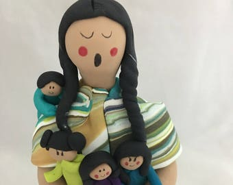 Mother's Day Native American Indian Maiden Standing Storyteller Doll Figurine