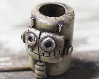 Robot dreadlock 10mm brown barrel bead