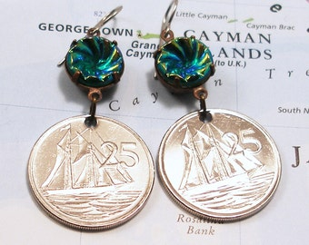 Cayman Islands, Coin Earrings --- Anchors Away --- Beach Vacation - Island Hopping - World Travel - Sailboat - Sailor - Boat - Sailing Ship