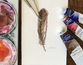 Sparrow Feather Study - Original Watercolour feather study