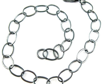 Oxidized Sterling Silver Necklace -Flat Cable Chain -Silver Bracelet, Anklet, Necklace-Big Flat Oval Shape (7-36 inches) Sku: 601010-OX
