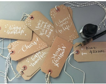 Holiday Wine and Gift Tags - Handwritten Calligraphy - Kraft Brown - White stamped - Personalized