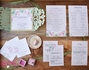 Sample - Blush Pink Peonies and Mint Watercolor Flowers Double sided Wedding Ceremony Program - customized for your event