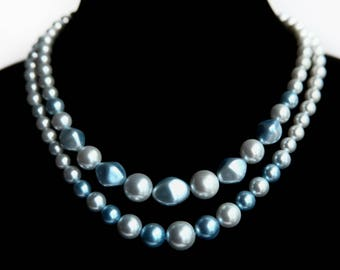 Vintage Double Strand Adjustable Blue Beaded Necklace ~ Two Tone Soft Blue ~ Vintage Costume Jewelry ~ Retro Glamour