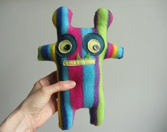 Recycled Plush Monster Doll, Upcycled Monster Plush, Stuffed Animals Handmade, Adopt a Monster, Silly Boy Monster, Ugly Doll, Rainbow