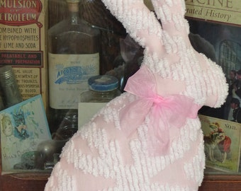 Vintage Chenille Bedspread Big Beautiful Pink Bunny Rabbit pillow Easter