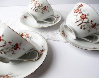 Vintage Noritake Brenda Teacups and Saucers Set of Three Floral