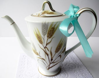 Vintage Noritake Coffee Pot Wheaton Gold Silver - Weddings Bridal