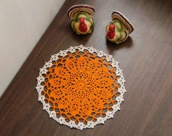 Orange Flower Crochet Lace Doily, Table Accessory, Modern Home Decor, Decorative