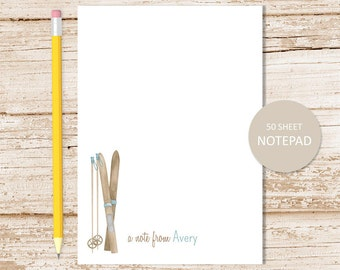 personalized notepad . skis notepad . skiing note pad . skier, watercolor skis, poles . winter sports . personalized stationery stationary
