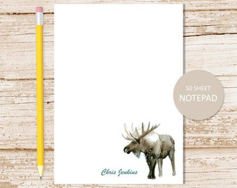 personalized notepad, note pad . moose notepad . watercolor moose . wildlife . personalized stationery . stationary gift