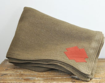 Vintage Army Green Wool Blanket Motor Weave Red Cross 58 by 76 Olive Drab