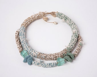 Crocheted Necklace in Pastel Shade of Beige, Light Blue, Green