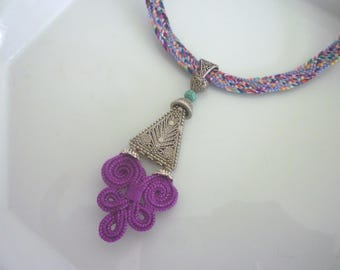 Moroccan arabesque necklace, art silk, summer necklace, magenta