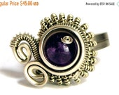 Steampunk Ring, Amethyst Ring, Wire Wrap Ring, Silver Ring, Purple Stone Ring, Swirl Ring, Spiral Ring, Gemstone Ring, Amethyst Ring