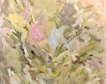 New Growth large abstract floral painting  no frame reqiired OOAK original