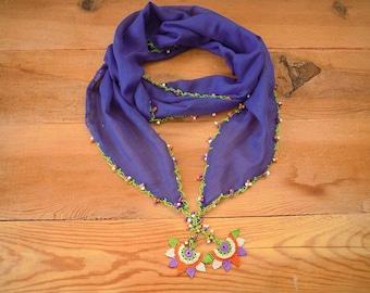 purple cotton scarf, hairband, crochet star