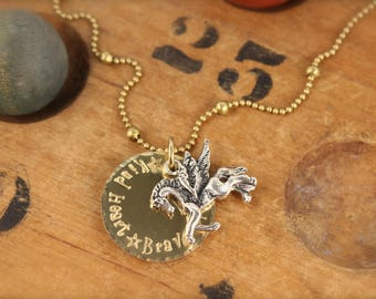 Horse Wings Pegasus Kind Brave Star Necklace