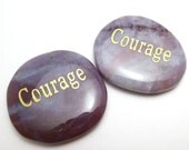Courage Worry Stone Palm Pocket Thumb Healing Metaphysical Meditation Crystal Natural Rock Balance Wisdom Word