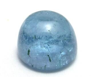 Aquamarine Cabochon 9mm Domed Round Engagement Ring Stone Sky Translucent Light Blue Bluegreen Aqua Rare AAA Grade