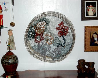 Beautiful Early Abstract Crocheted Wire Work by Portland Oregon artist Bonnie Meltzer ~Crocheting Wire Circles Found Object Art ~ Large 31""