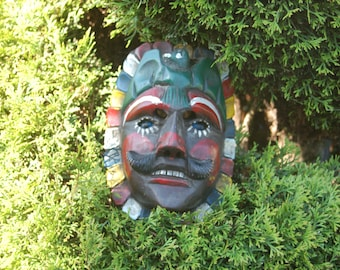 Fine Old Vintage or Antique Guatemalan Carved Wooden Dance Mask w/ Glass Eyes ~ Colorful Mask of Tecu Uman, Feathered Headdress, Glass Eyes