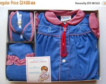 HOLIDAY SALE Vintage 50s Baby Buckaroo Infant Western Cowgirl Dress Set with Boots NOS 6mo