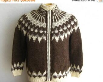 HOLIDAY SALE Vintage Mens Norwegian Brown Wool Knit Zip Front Winter Cardigan Sweater