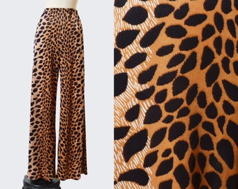 Vintage 60s Leopard Print Wide Leg PANTS / 1960s High Waist Novelty Animal Print Trousers, xs