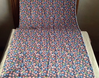 Vintage French Fabric/ Navy Blue Red & Green Floral Panel, Light Weight Cotton Textile Furnishing Projects