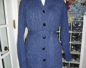 Vintage Aran Crafts Blue Hand Knit Sweater Merino & Alpaca Tie Waist Skirted Chunky Cardigan Jacket L Large XL XLarge Xtra Large