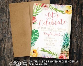 Tropical Bridal Shower Invitation   Pineapple Bridal Shower   Printed Invitation   Printable Digital File DIY   Tropical Shower