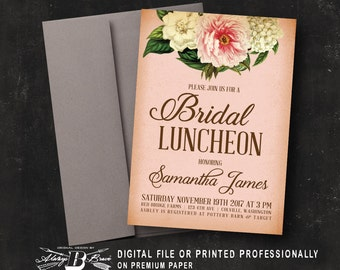 Rustic Bridal Luncheon Invitation | Pink Blush | Printed Invitation | Printable Digital File DIY | Peony Floral Bridal Shower Invitation