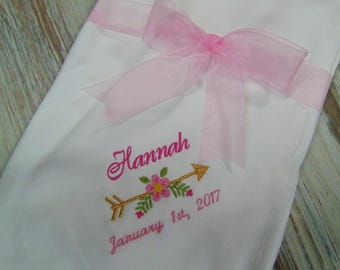 "Baby Blanket Monogrammed with Name and Birthdate- Soft 100% Cotton 30"" x 60"" Baby Blanket- Great Baby Gift!"