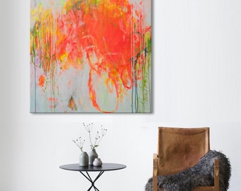 abstract painting bold floral hot pink neon orange painting - laugh in the garden - modern art Elena.