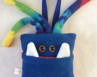 Tooth Fairy Pillow | Blue and Tie Dyed Tooth Monster | Tooth Fairy Monster Pillow