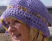 Crochet hat purple summer cotton accessories women's fashion