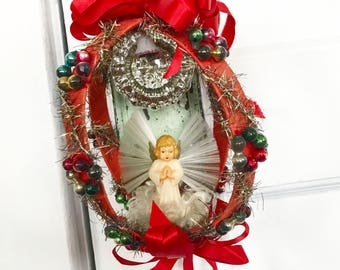 Vintage Christmas Ornament Decoration Plastic Angel Red Ribbon Mercury Glass Bead Spun Glass Wings