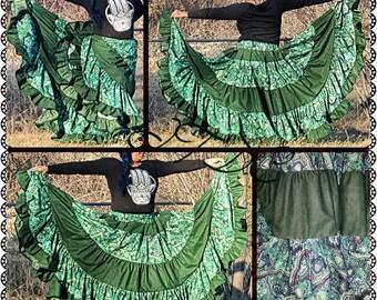 25yd Green Gold leaf Floral Tiered Skirt