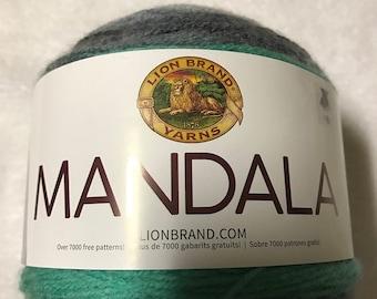 Lion Brand Mandala Yarn Cake Genie # 217 Color Change #3 Weight 5.3 oz 590 yrds Gray greens White