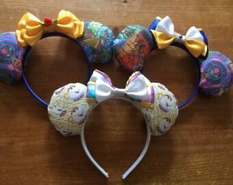 Beauty and the Beast inspired Mickey/Minnie Disney ears
