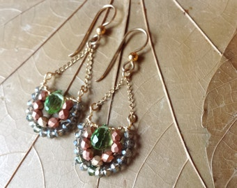 Faceted Peridot Glass, Crystal and Copper Dangle Drop Earrings on 14K Gold Filled Chain and Ear Wires