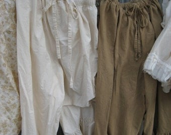Long Ruffled Pantaloons-Ruffled Britches-Ruffled Ladies Pants-Cotton Linen