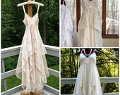 Empire waisted tattered alternative bride gypsy boho floor length wedding dress, off white, cream, beige or ivory, made to order, size 2-20