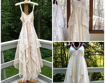 Empire waisted tattered gypsy boho floor length wedding dress, white/off white, ivory/cream, beige, made to order, size 2-22W, Lily Whitepad
