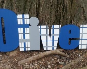 Custom Boys Name Sign - Plaid Boys Name Sign - Nursery Wall Letters Name Sign - Wood Wall Letters Boy Style Stripes
