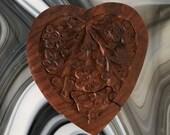 Vintage Wooden Heart Shape Puzzle Box