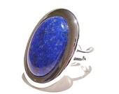 Large Blue Lapis Lazuli Gemstone Ring - Adjustable 33 x 25mm