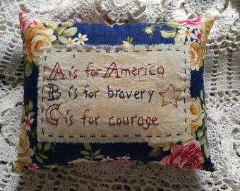 Prim Stitchery America ABC Pillow ~OFG